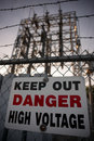 Keep Out Danger High Voltage Sign Royalty Free Stock Photo