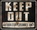 Keep Out Sign Rusted Metal Vintage Royalty Free Stock Photo