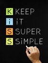 Keep it super simple hand writing with white chalk on blackboard Royalty Free Stock Photo