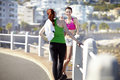 Keeping healthy feeling great two sporty and young women stopped to have a conversation during their jog Royalty Free Stock Photos