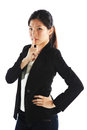 Keeping quiet asian career woman on something Stock Photos