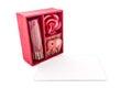 Keepsake box beautiful red gift boxes and card isolated on white background close up horizontal image Royalty Free Stock Photo