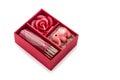 Keepsake box beautiful red gift boxes and card on white background close up horizontal image Stock Image