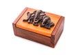 Keepsake box wooden handmade gift boxes on white background close up horizontal image Royalty Free Stock Image