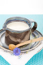 Kefir in jug argil with wooden spoon on rustic plate Royalty Free Stock Photos