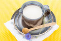 Kefir in jug argil with wooden spoon on rustic plate Stock Image