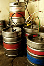 Kegs in Basement of Pub Stock Image