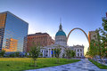 Keiner Plaza and Gateway Arch in St. Louis Royalty Free Stock Photo