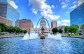 Keiner Plaza and the Gateway Arch in St. Louis Royalty Free Stock Photo
