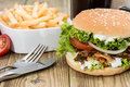 Kekab Burger with Chips in a bowl Royalty Free Stock Photo