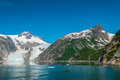 Kenai fjords mountains glacier and chunks of ice in alaskan usa Royalty Free Stock Photography