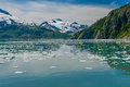 Kenai fjords mountains glacier and chunks of ice in alaskan usa Stock Photo
