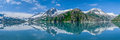 Kenai fjords panorama panoramic view of glacier reflecting in alaskan usa Royalty Free Stock Images