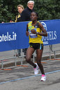 Kenian runners monica jepkoech female marathon winner with timing http milanocitymarathon gazzetta it Stock Photography