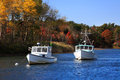 Kennebunkport harbor boats lobster at rest on a sunny autumn morning in maine usa Royalty Free Stock Photography