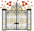 Kensington palace gate with hearts, home of duke and duchess of cambridge, royal love, valentines day