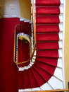Kensington palace red stairwell a famous carpeted in Stock Photo