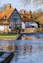Kent countryside uk beautiful kentish property adjacent the ford at eynsford in Stock Image