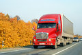 Kenworth t chelyabinsk region russia october red semi trailer truck at the interurban road Royalty Free Stock Image