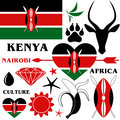 Kenya set pattern objects on white background vector illustration eps Royalty Free Stock Images
