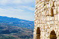 Kerak castle and view on mountain valley Royalty Free Stock Image