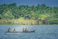 Kerala fishermen two indian fishing in the backwaters india Stock Photo
