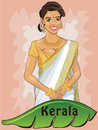 Kerala hand drawn cartoon style character of a lady wearing a traditional indian saree gold ornaments banan leaf a sign of the Royalty Free Stock Photo