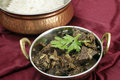 Kerala mutton liver fry horizontal fried with onion and indian spices to make a traditional south india served with basmati long Stock Photo