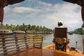 Kerala waterways and boats the open of the backwaters ashtamudi lake Stock Photo
