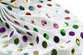 Kerchief with paillettes white silk decorated multicolor Stock Photo