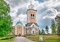 Kerimaki finland wooden church and belfry june the largest in the world altogether there can be people at a time in the Royalty Free Stock Image