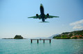 Kerkyra Airport Landing Royalty Free Stock Photo