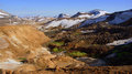 Kerlingarfjöll choclolate mountain panoram panorama of chocolate coloured mountains in summer in iceland Royalty Free Stock Photos