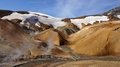 Kerlingarfjöll mountains and river panorama picture of chocolate coloured in summer in iceland Royalty Free Stock Image