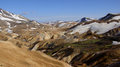 Kerlingarfjöll mountain panorama of mountains still covered in snow in summer in iceland Stock Photos