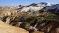 Kerlingarfjöll panorama steam escaping mountain picture of from geothermal in summer in iceland Stock Photos