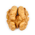 Kernel walnut isolated on the white background closeup Stock Images