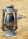 Kerosene lamp the old with blurred background Royalty Free Stock Image