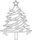 Kerstboom kleurende pagina Stock Foto's