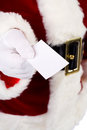 Kerstman santa claus holding out business card Royalty-vrije Stock Foto