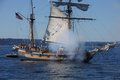 The ketch, Hawaiian Chieftain, fires her cannon Royalty Free Stock Photo