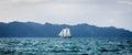 Ketch Sailing ship under full sails Royalty Free Stock Photo