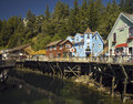 Ketchikan alaska usa creek street walkway above creek in the coastal town of in Stock Photography