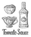 Ketchup bottle, tomato sauce in a plate. Vector vintage engraved illustration Royalty Free Stock Photo