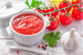 Ketchup fresh with garlic in a bowl Royalty Free Stock Image