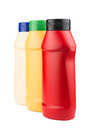 Ketchup, mayonnaise and mustard no label plastic bottles