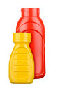 Ketchup and mustard bottles isolated on white background Royalty Free Stock Photos