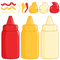 Ketchup mustard and mayonnaise bottles spilled sauces of tomato Royalty Free Stock Images