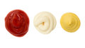 Ketchup mustard and mayonnaise stain blob blobs on white Stock Photo