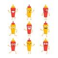 Ketchup and Mustard- vector set of mascot illustrations.